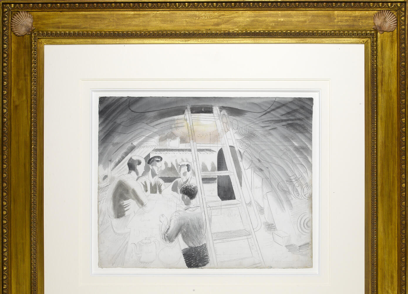 A drawing by Eric Ravilious in a custom frame by Julia Korner