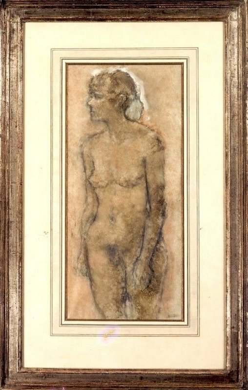 A standing Female Nude, three-quarter length