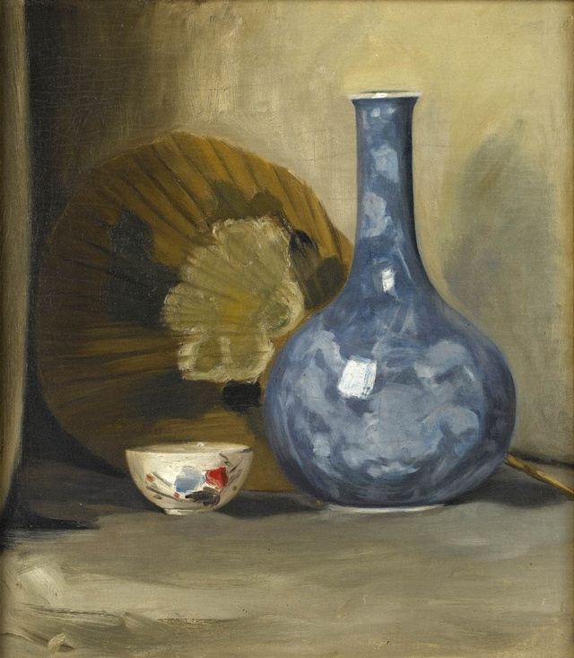 Still life with Fan and Oriental Porcelain
