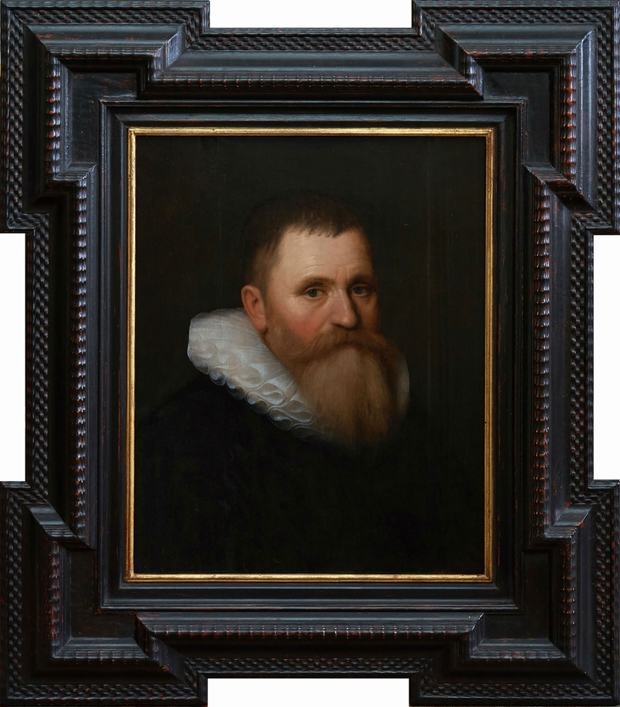 Portrait of a bearded gentleman aged 54, bust length in a black coat and ruff