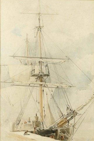 A ship in dock with sails half furled