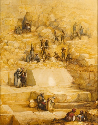 Excavation and discovery of the casing stones of the Great Pyramid at Gizeh