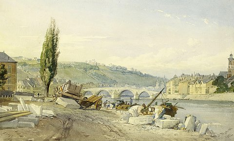 Stonemasons on the Banks of the River Meuse before the City of Liege