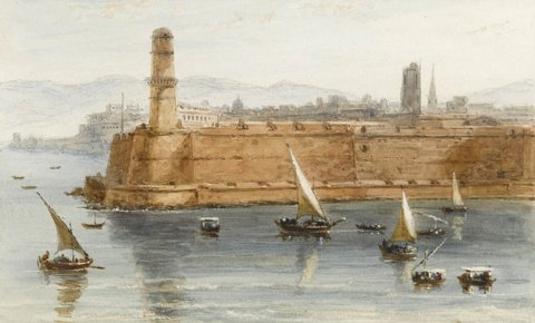 Entrance to the Habour of Marseilles with sailing boats beneath the fortified lighthouse tower